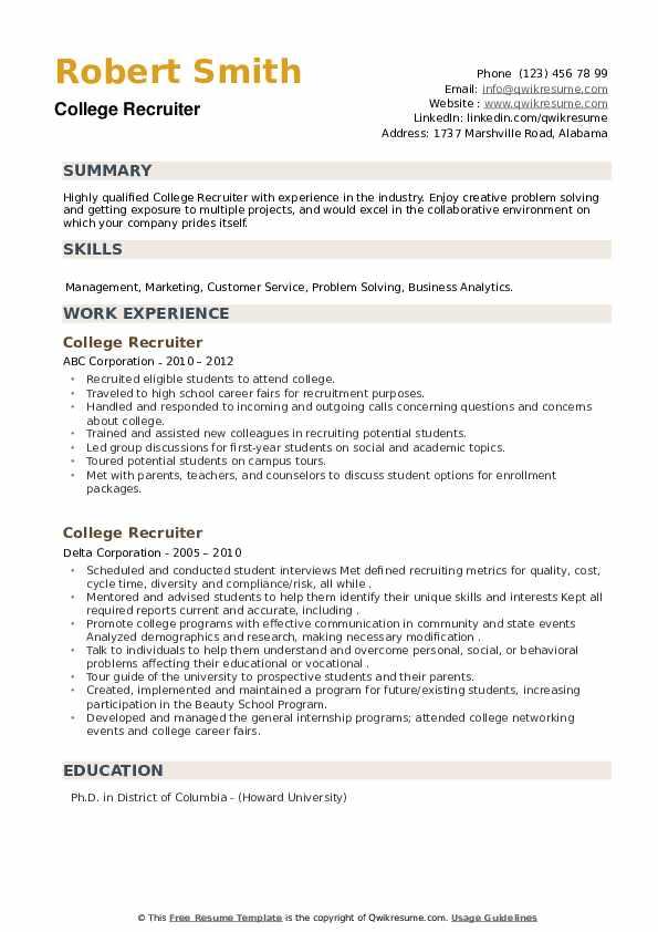 College Recruiter Resume example