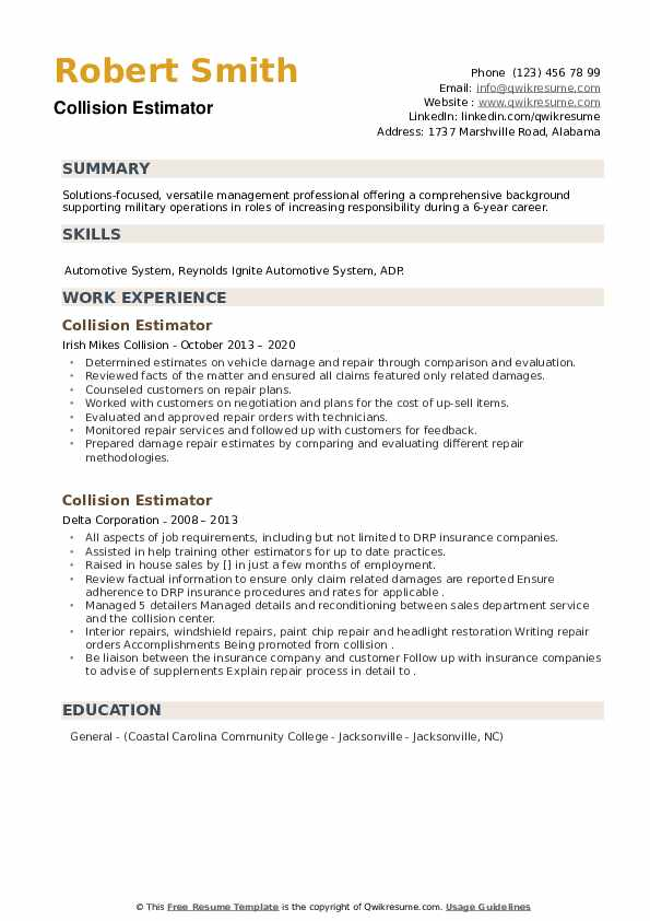 Collision Estimator Resume example