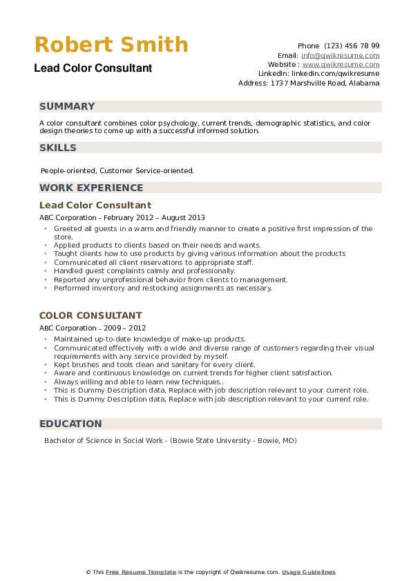 color consultant resume samples
