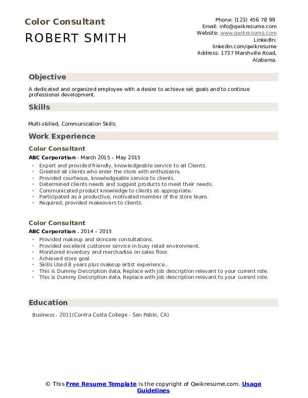 Color Consultant Resume example