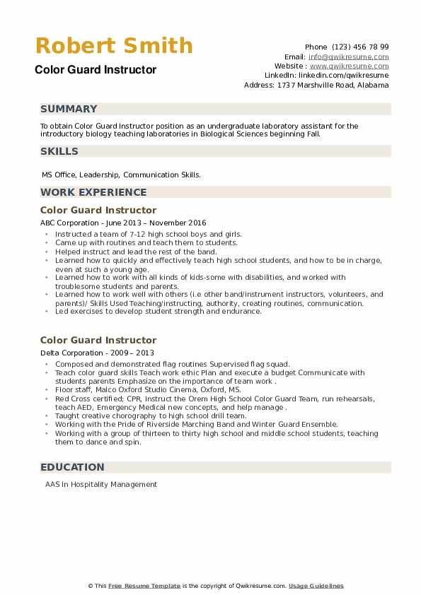 Color Guard Instructor Resume example