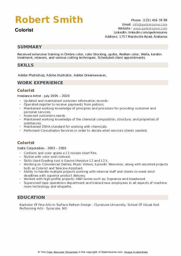 Colorist Resume example