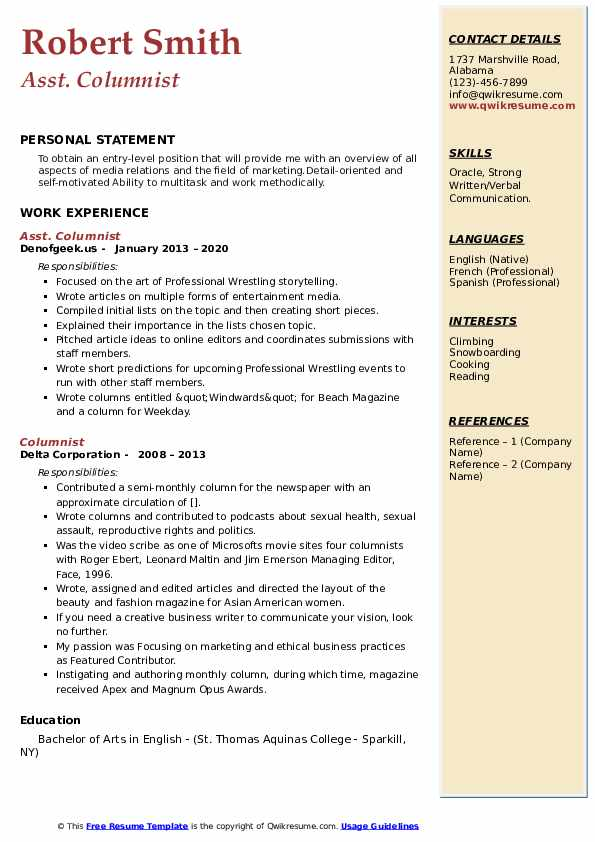 columnist resume samples  qwikresume