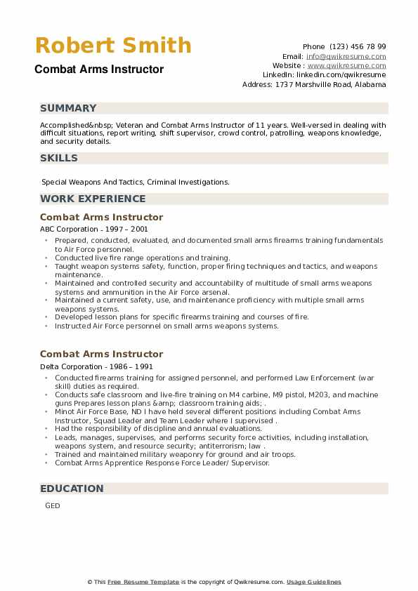Combat Arms Instructor Resume example