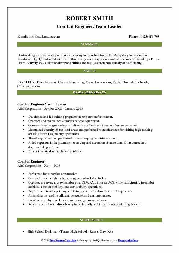 Combat Engineer/Team Leader Resume Example