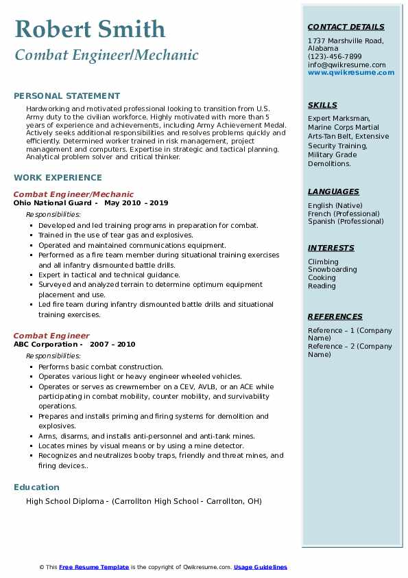 Combat Engineer/Mechanic Resume Model