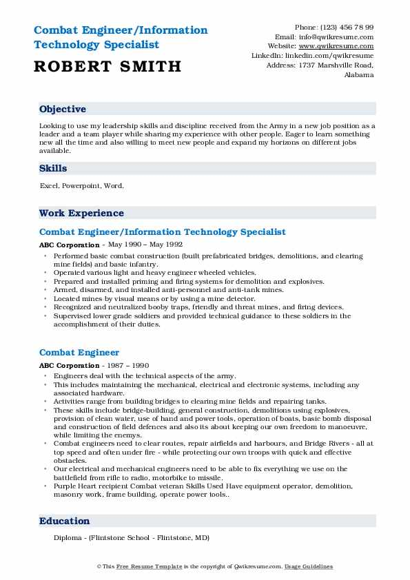 Combat Engineer/Information Technology Specialist Resume Format