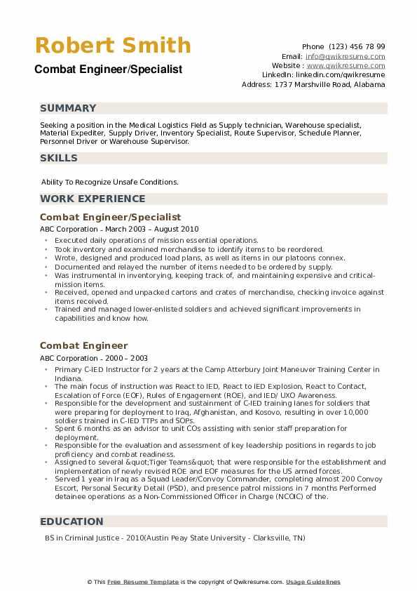 Combat Engineer/Specialist Resume Format