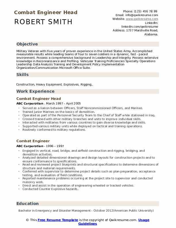 Combat Engineer Head Resume Format