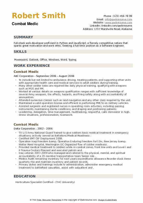 Combat Medic Resume example