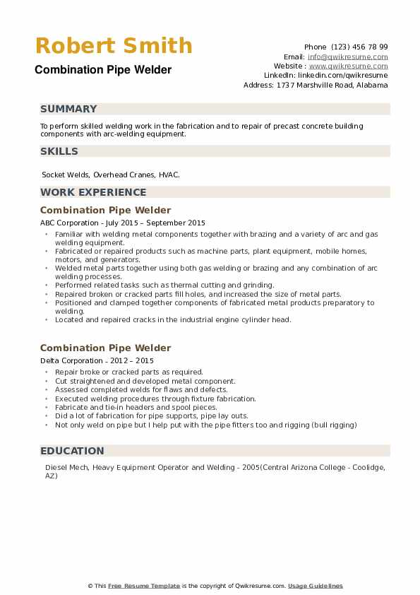Combination Pipe Welder Resume example