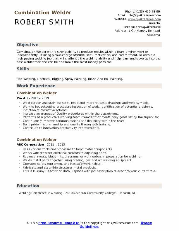 Combination Welder Resume example