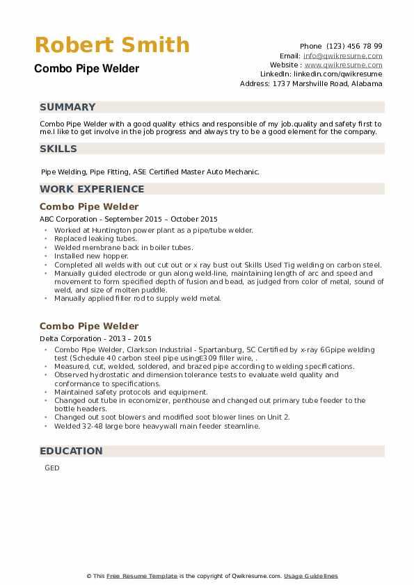 Combo Pipe Welder Resume example