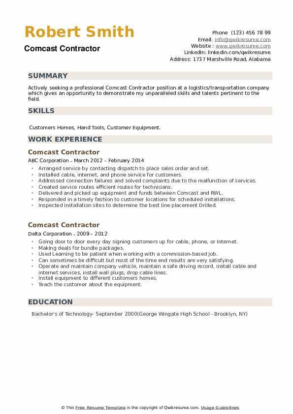 Comcast Contractor Resume example