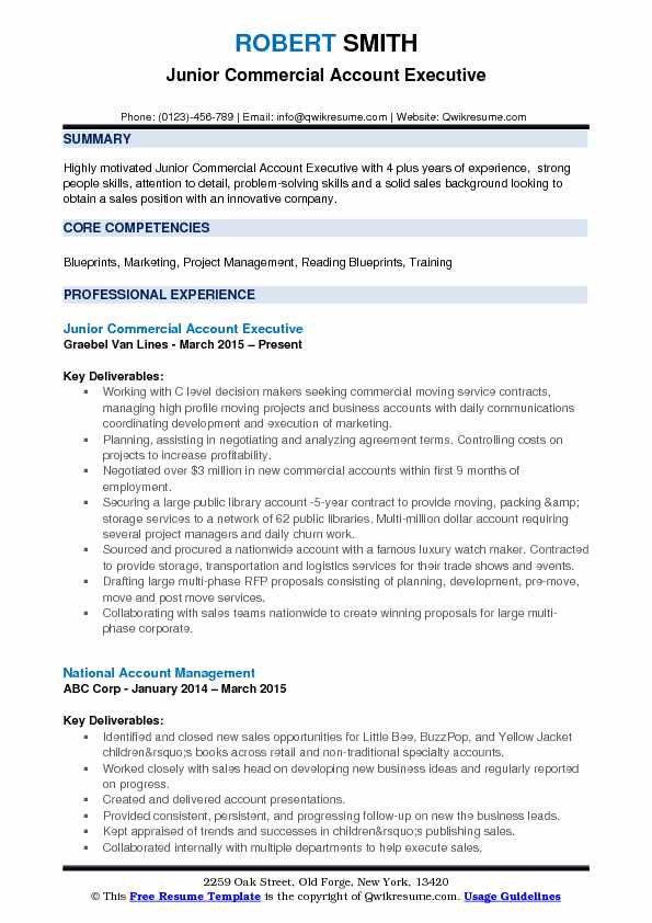 Junior Commercial Account Executive Resume Format