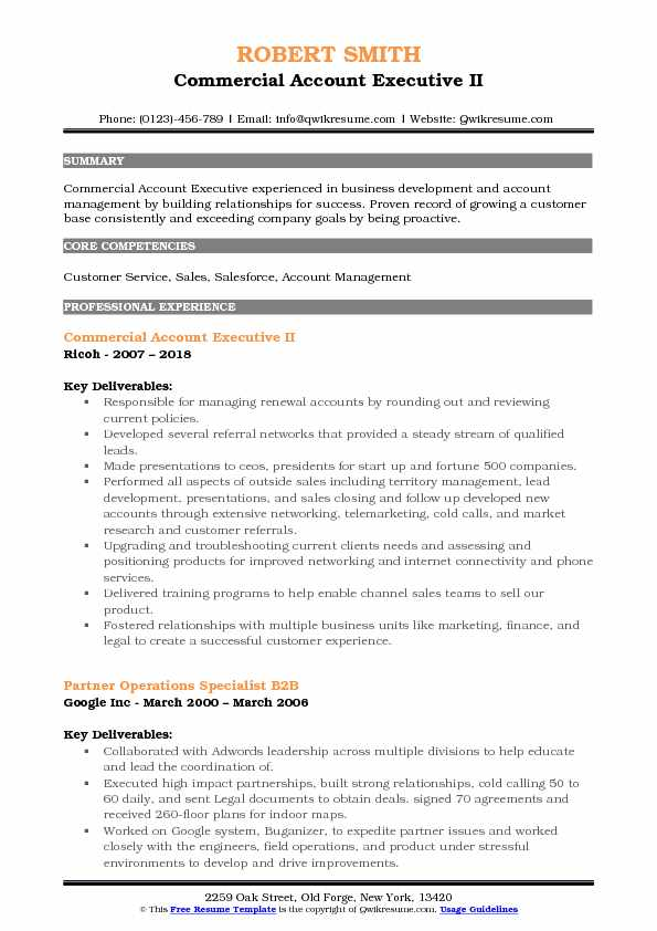 Commercial Account Executive II Resume Sample