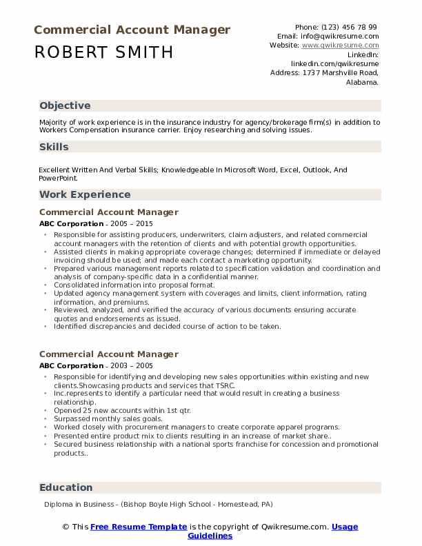 Commercial Account Manager Resume Format