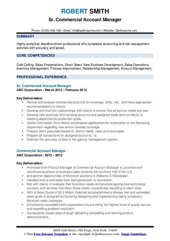 Sr. Commercial Account Manager Resume Template