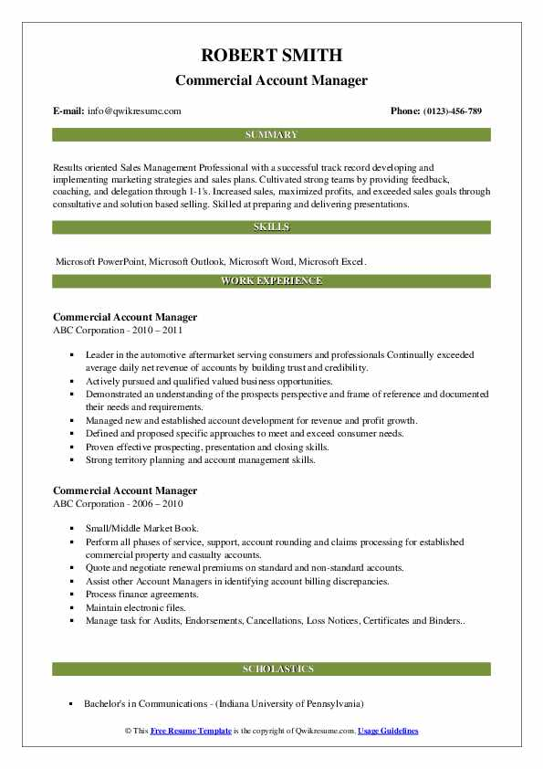 Commercial Account Manager Resume Model