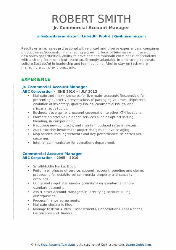 Jr. Commercial Account Manager Resume Model