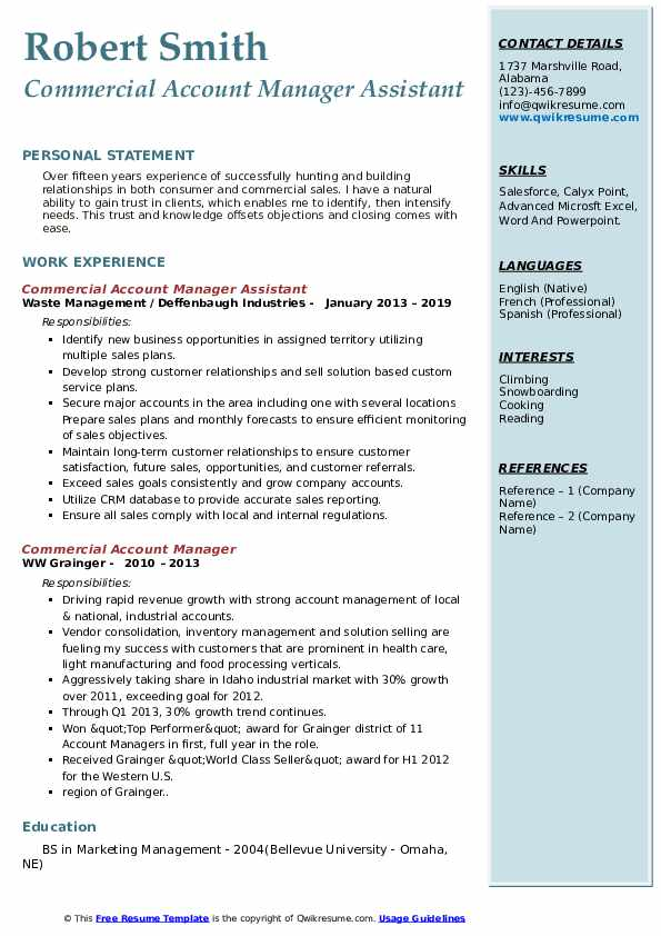 commercial account manager resume samples