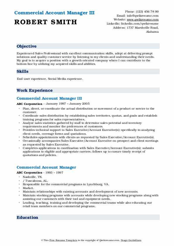 Commercial Account Manager III Resume Model