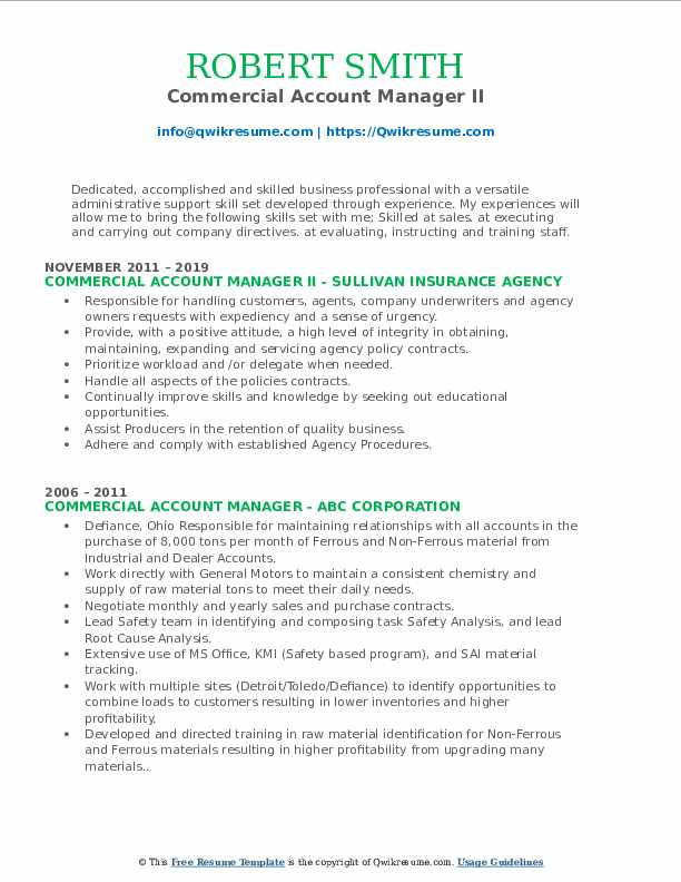 Commercial Account Manager II Resume Model