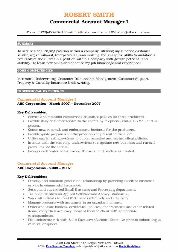 Commercial Account Manager I Resume Template