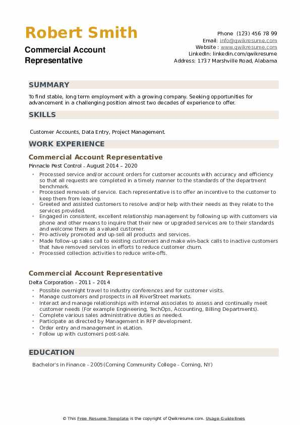Commercial Account Representative Resume example