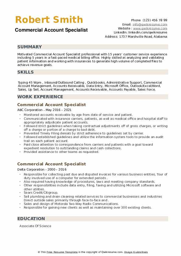 Commercial Account Specialist Resume example