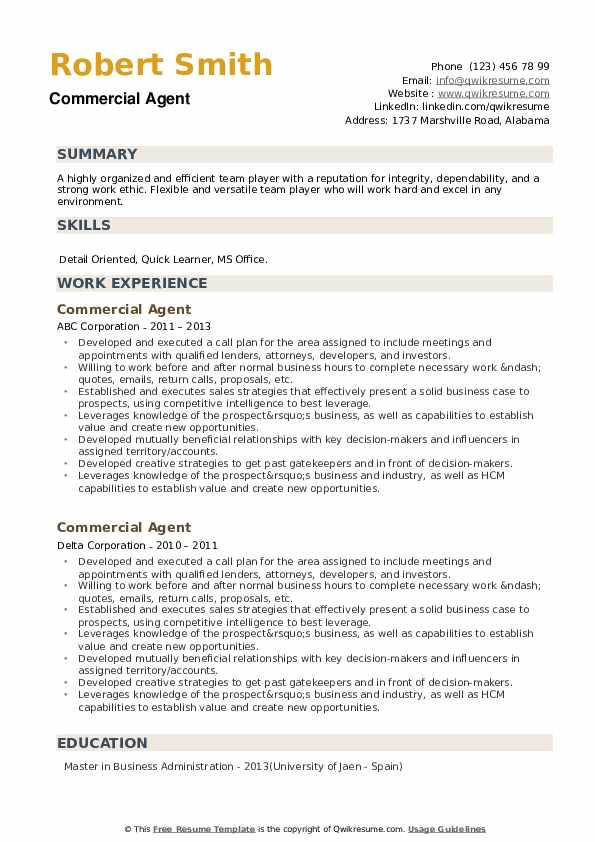 Commercial Agent Resume example