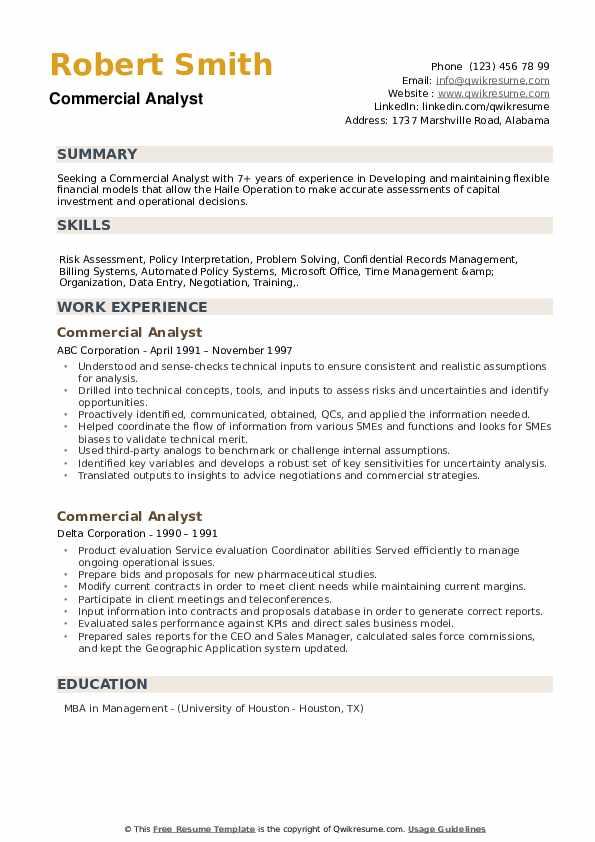Commercial Analyst Resume example