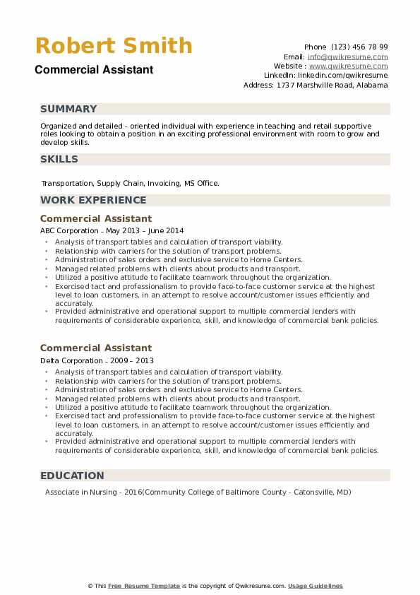 Commercial Assistant Resume example