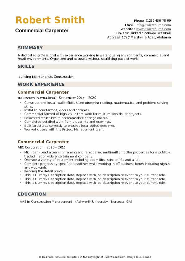 Commercial Carpenter Resume example