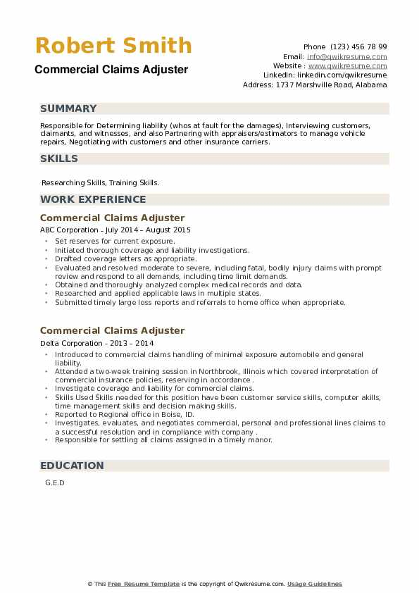 Commercial Claims Adjuster Resume example