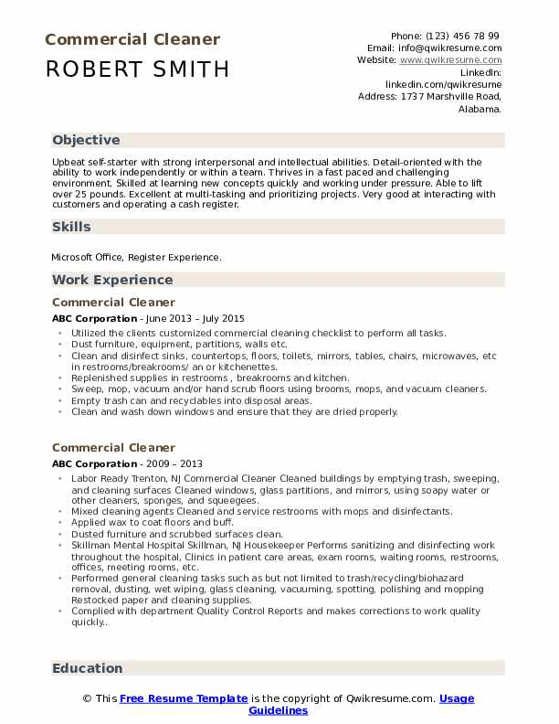 Commercial Cleaner Resume Format