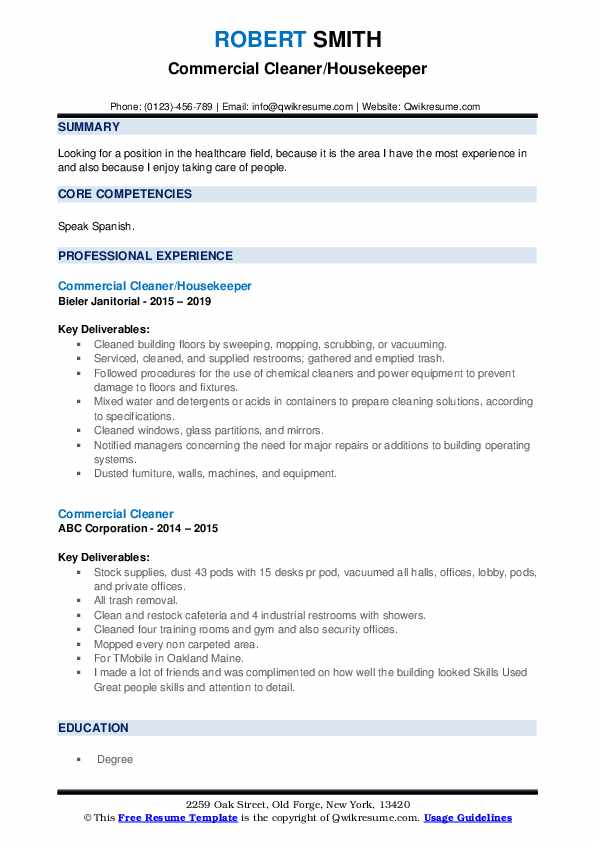 Commercial Cleaner/Housekeeper Resume Format