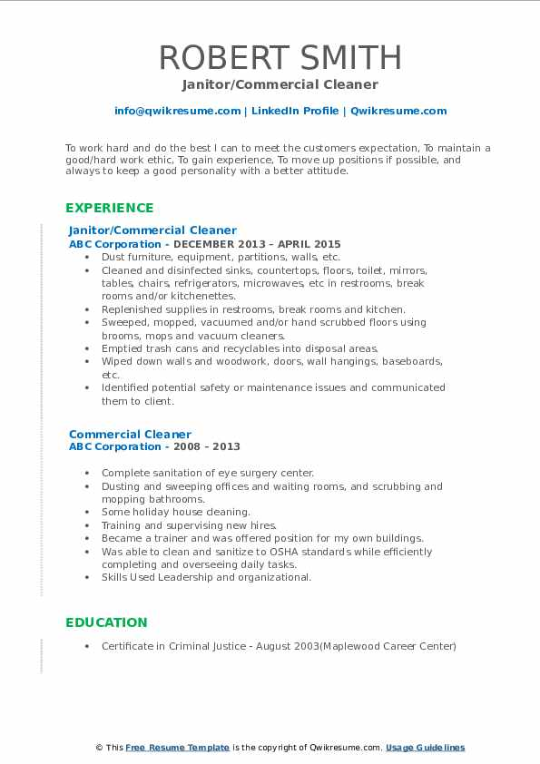 Janitor/Commercial Cleaner Resume Sample