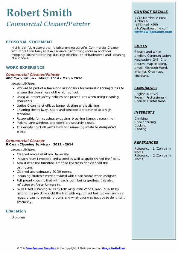 Commercial Cleaner/Painter Resume Format