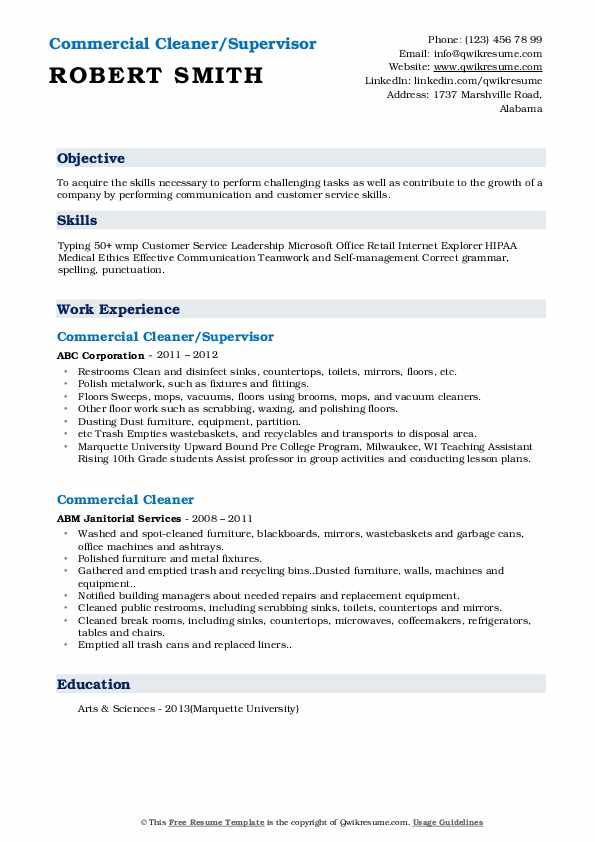 Commercial Cleaner/Supervisor Resume Template