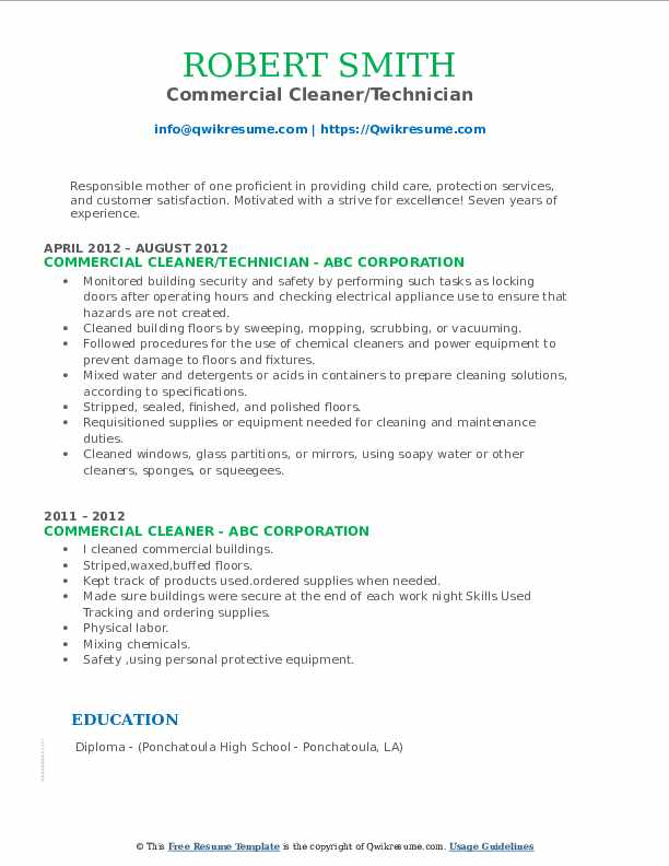 Commercial Cleaner/Technician Resume Sample
