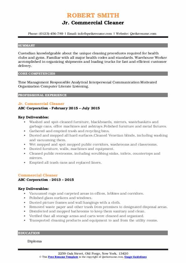 Jr. Commercial Cleaner Resume Example