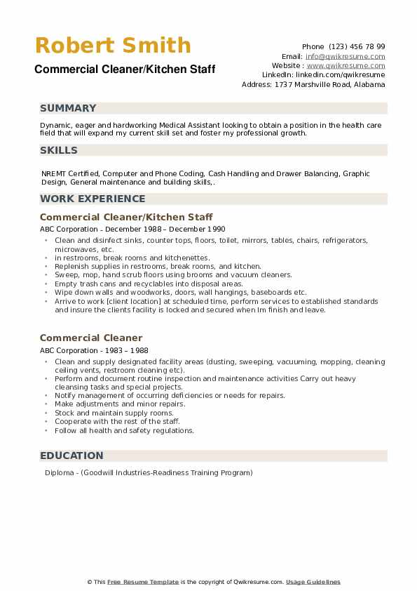 Commercial Cleaner/Kitchen Staff Resume Template
