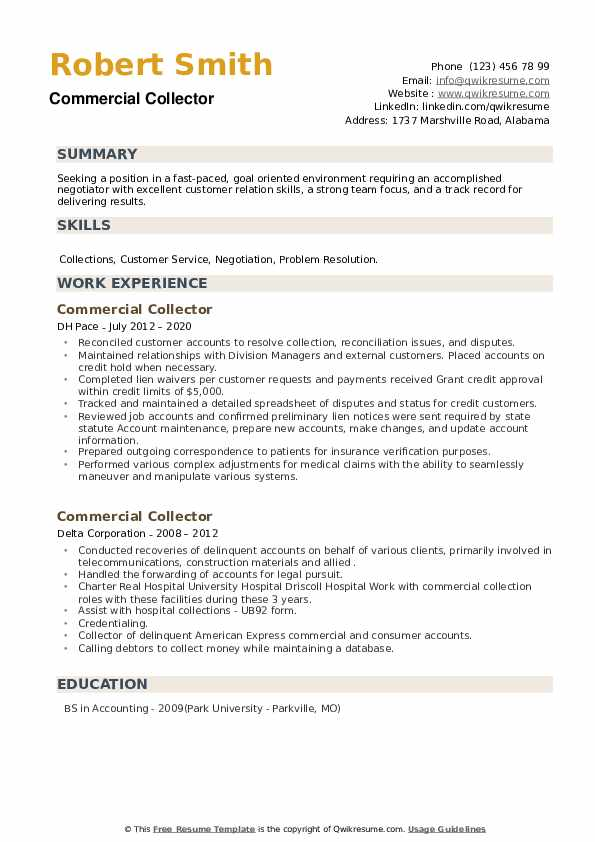 Commercial Collector Resume example