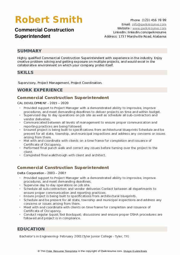 Commercial Construction Superintendent Resume example