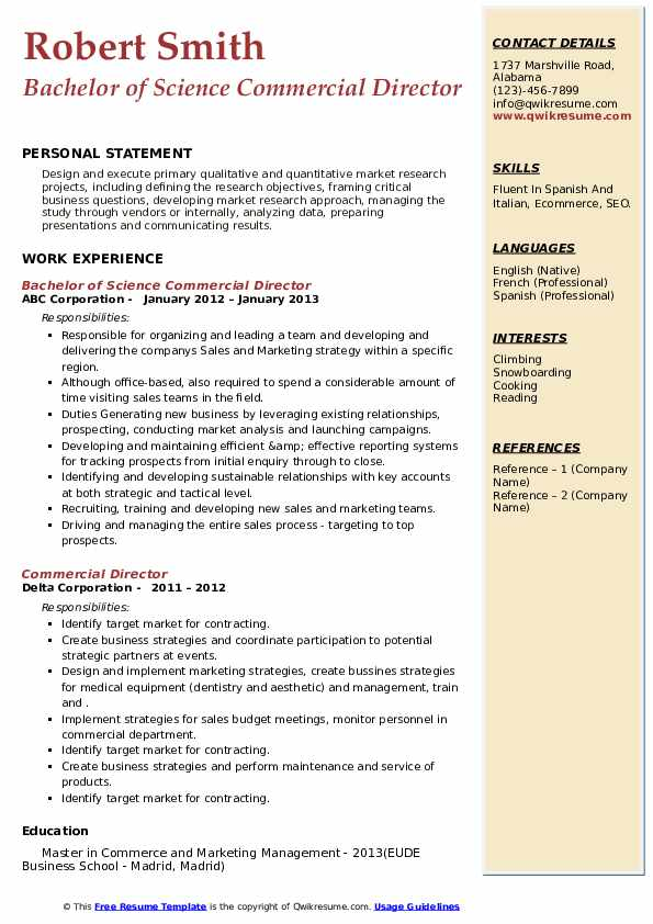 commercial director resume samples  qwikresume