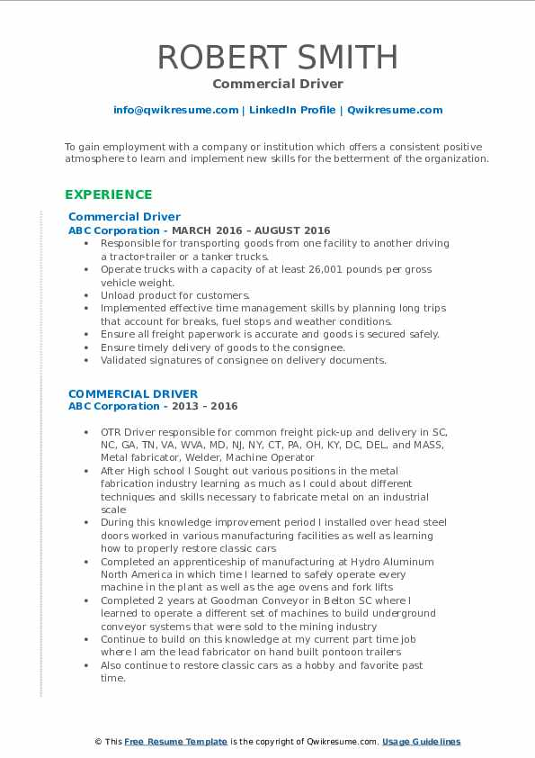Commercial Driver Resume Model