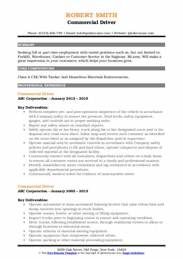 Commercial Driver Resume Example