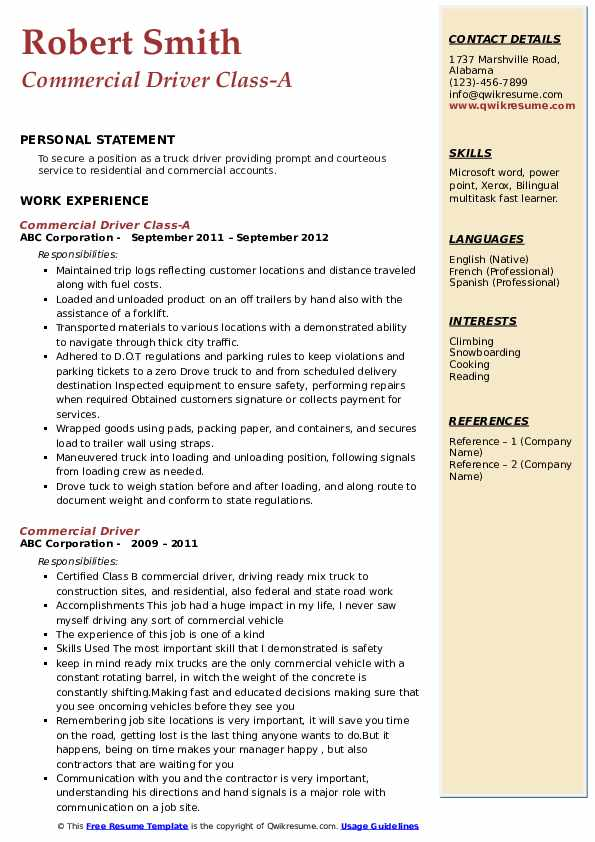 Commercial Driver Class-A Resume Sample