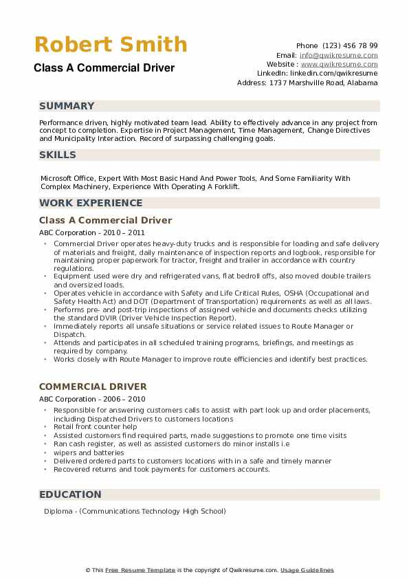 Class A Commercial Driver Resume Sample